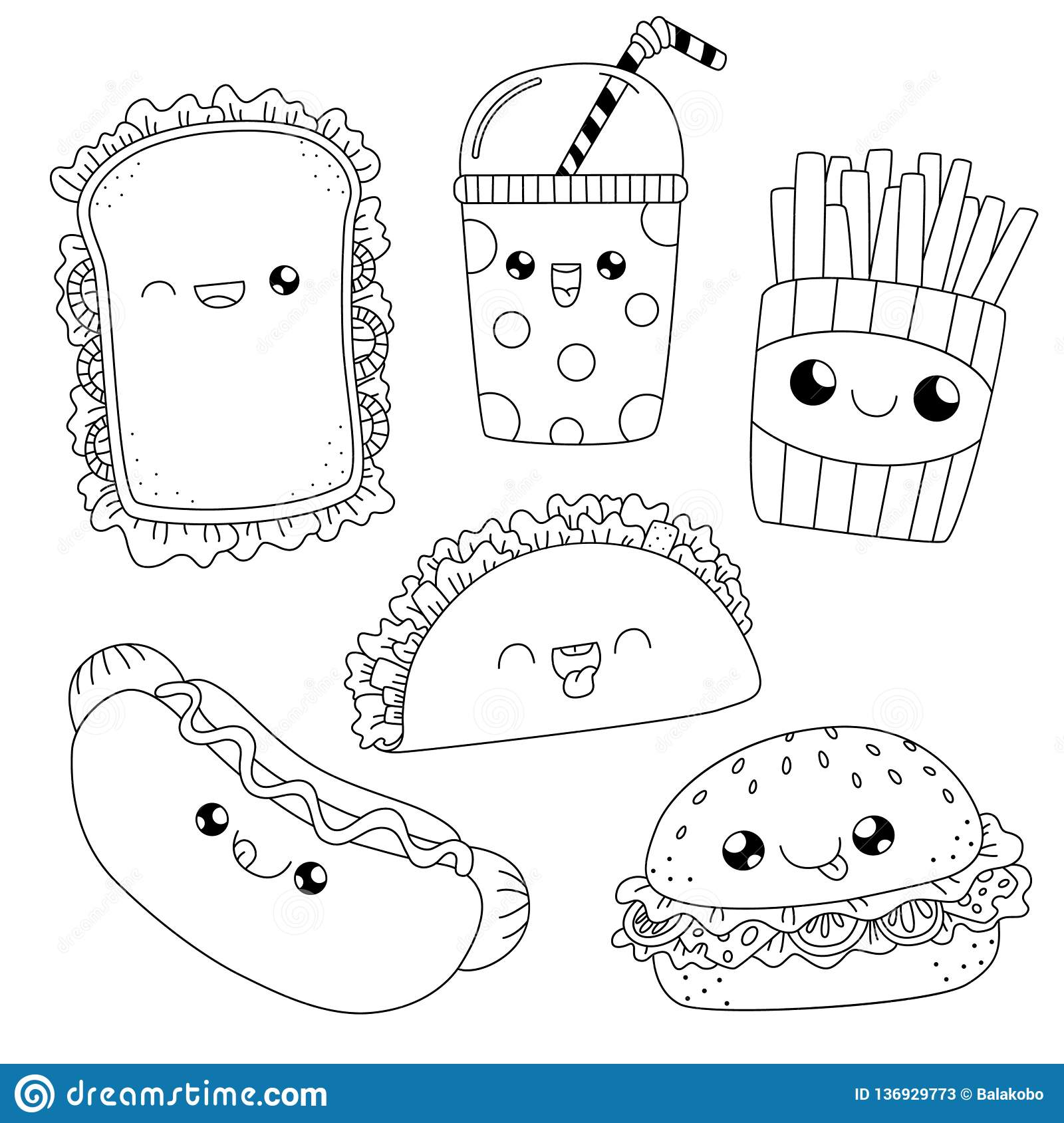 Coloring Book Fast Food Doodle Stock Vector