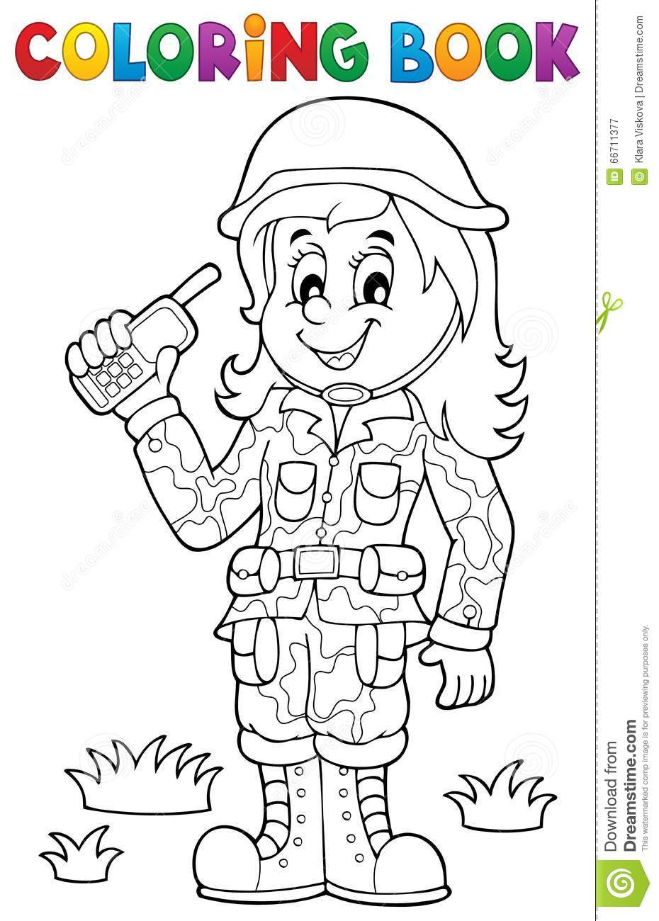 Coloring Book Female Soldier Theme 1 Stock Vector Image
