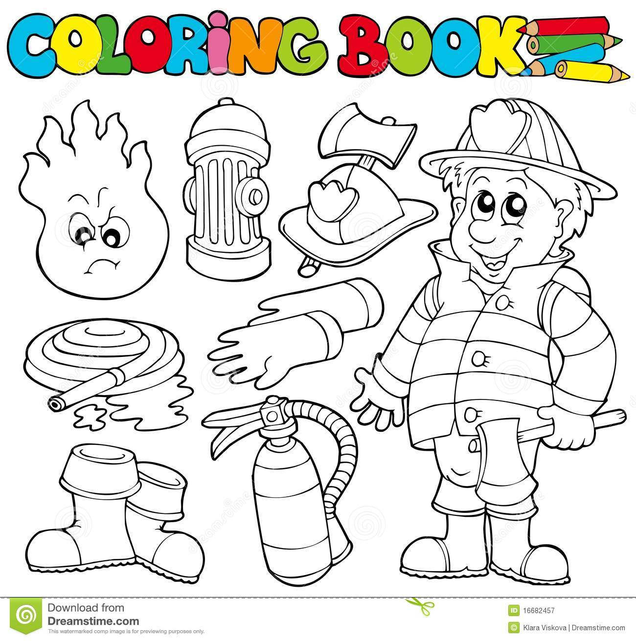 Coloring Book Firefighter Collection Stock Vector