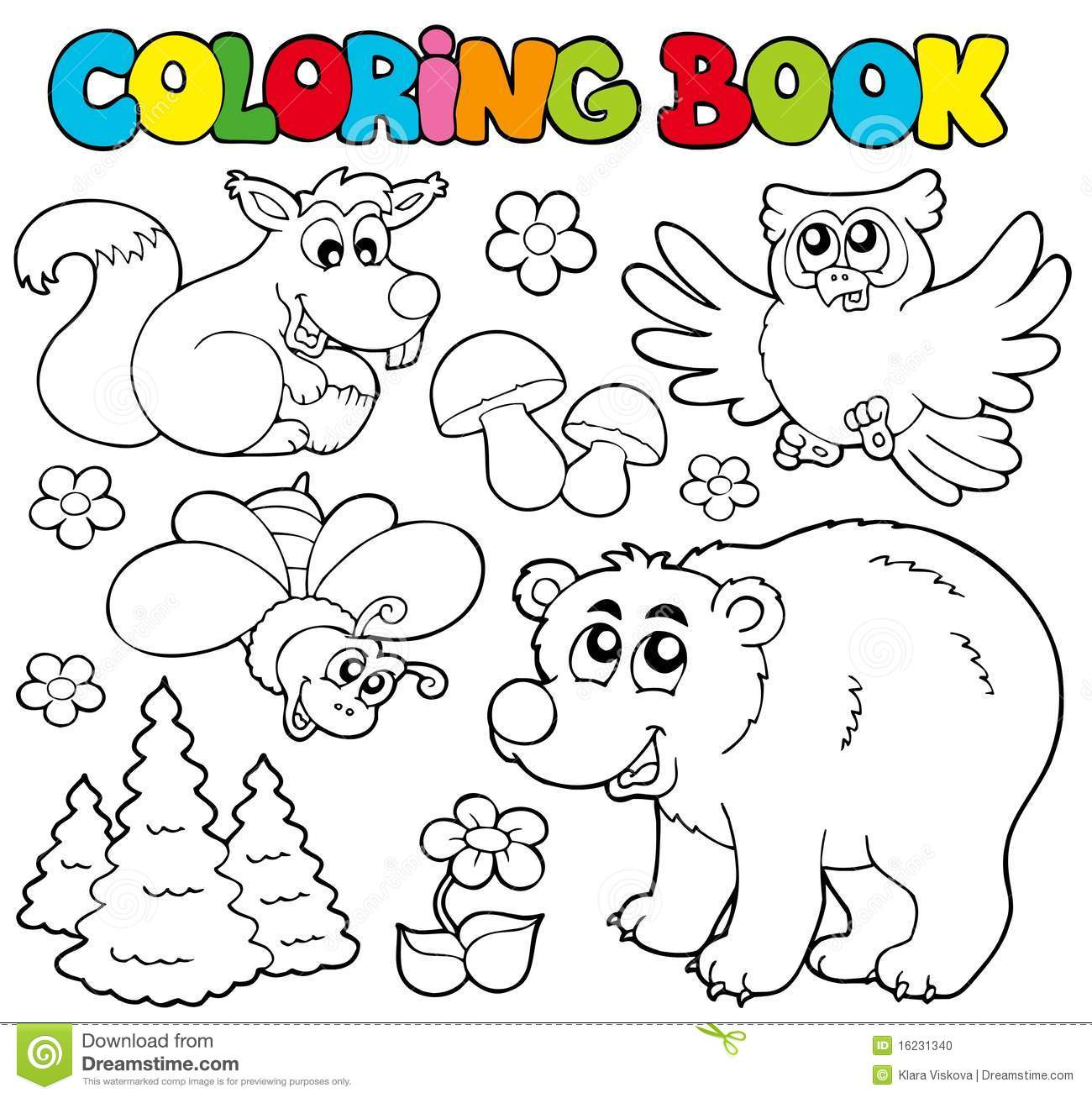 Coloring Book With Forest Animals 1 Stock Vector