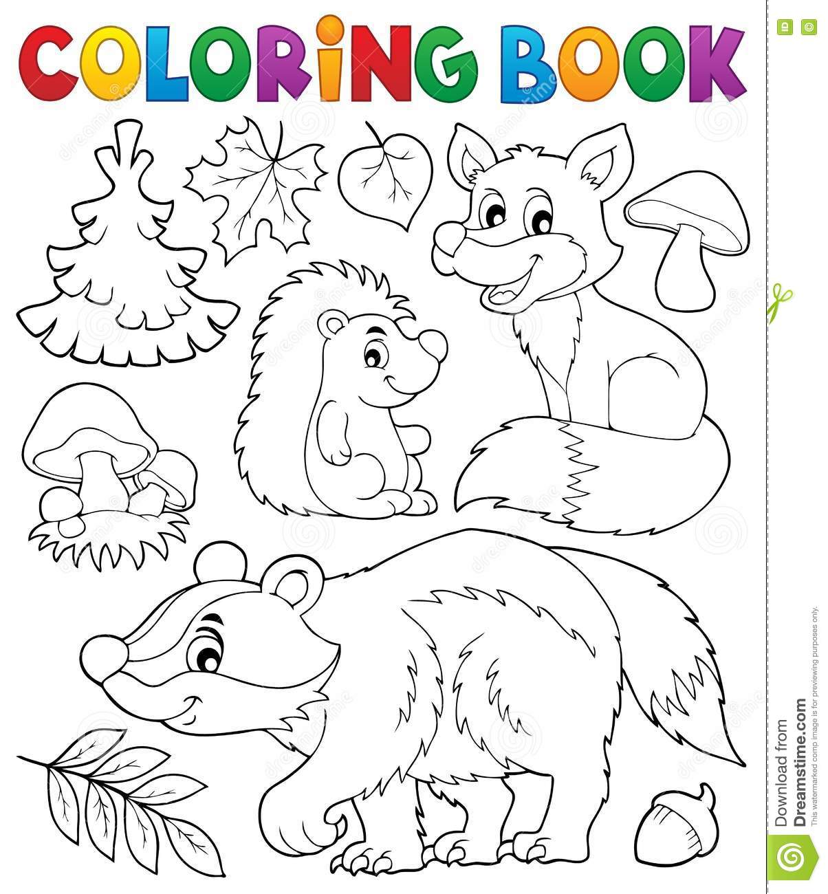 Coloring Book Forest Wildlife Theme 1 Vector Illustration