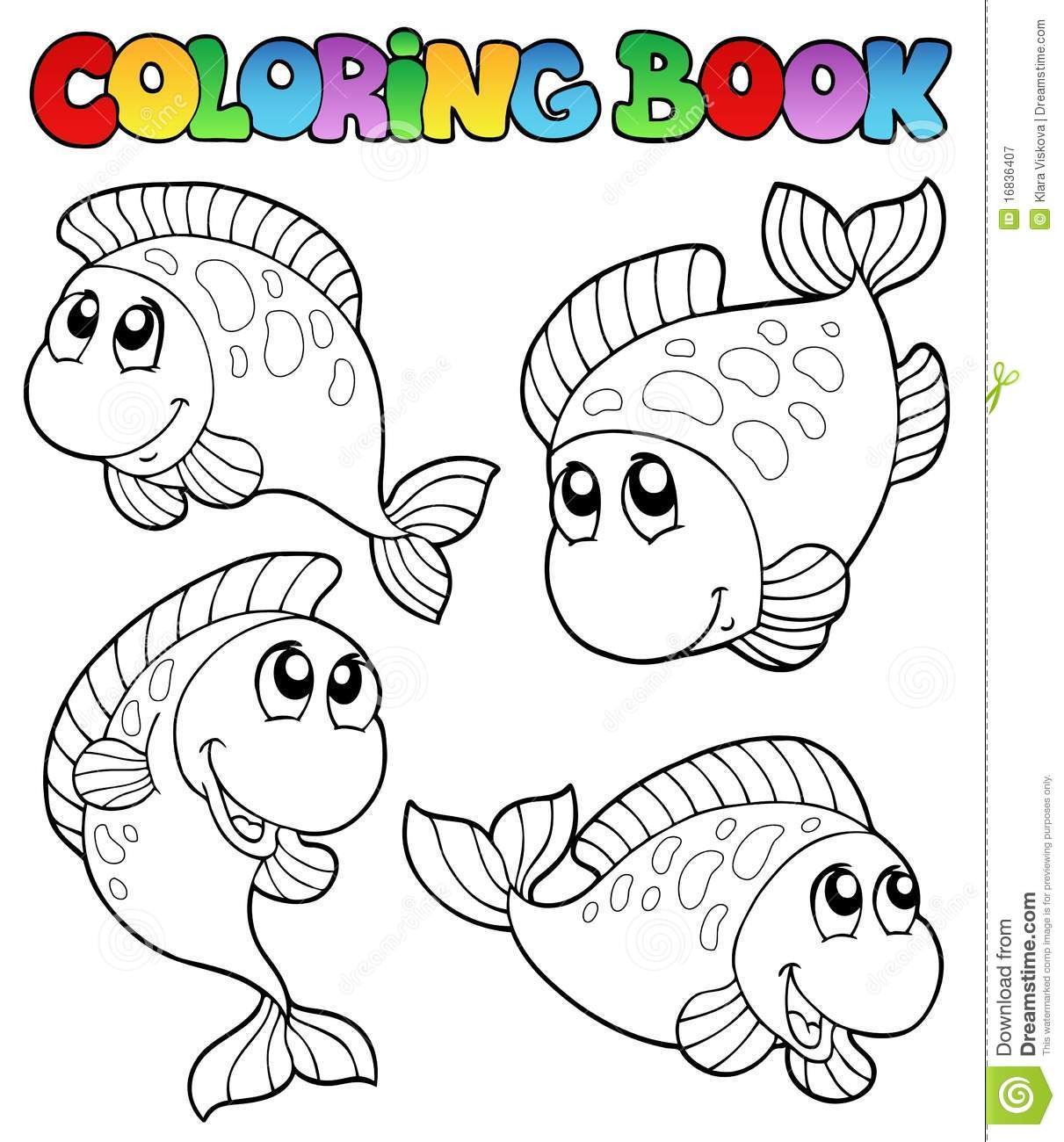 Coloring Book With Four Fishes Stock Vector