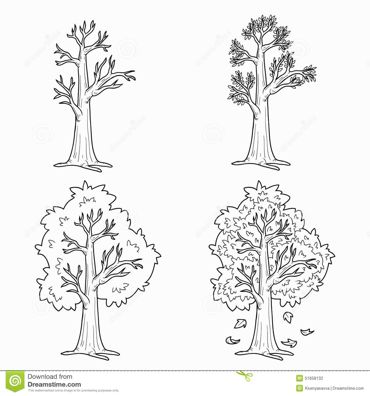 Coloring Book Four Seasons Stock Vector