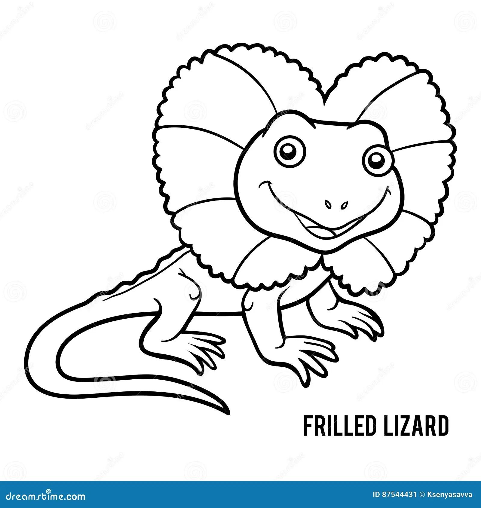 Coloring Book Frilled Lizard Stock Vector