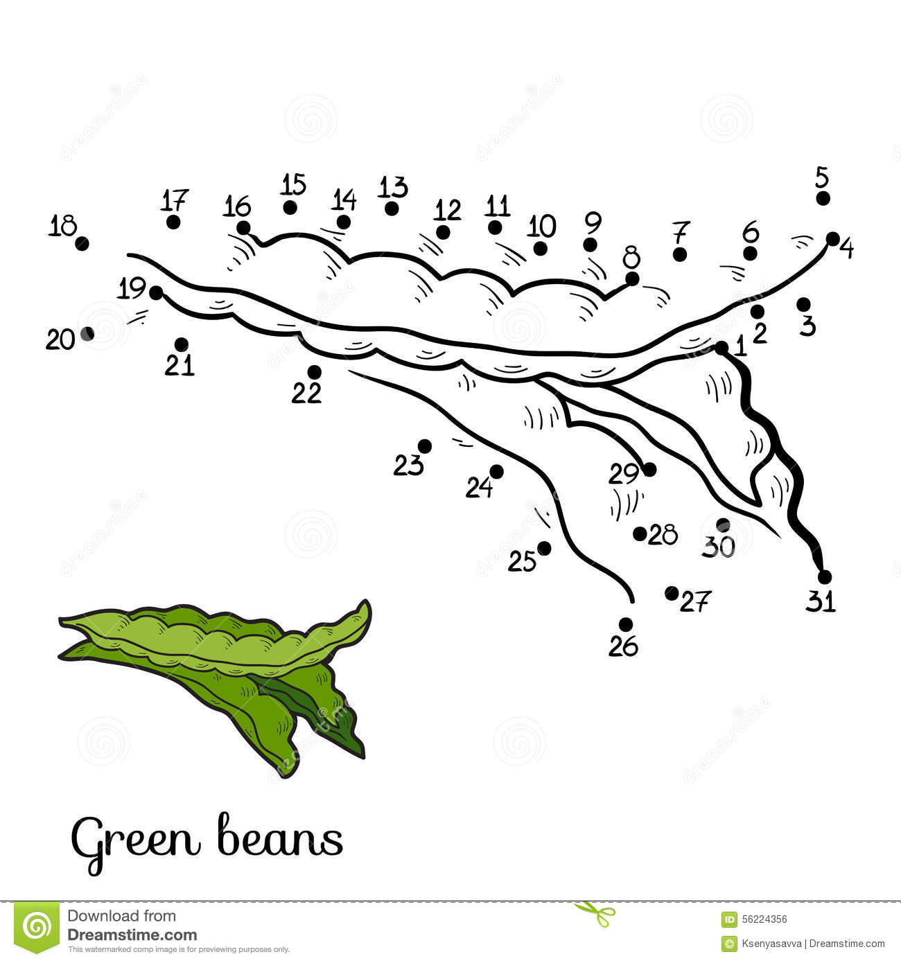 Coloring book: fruits and vegetables (green beans)
