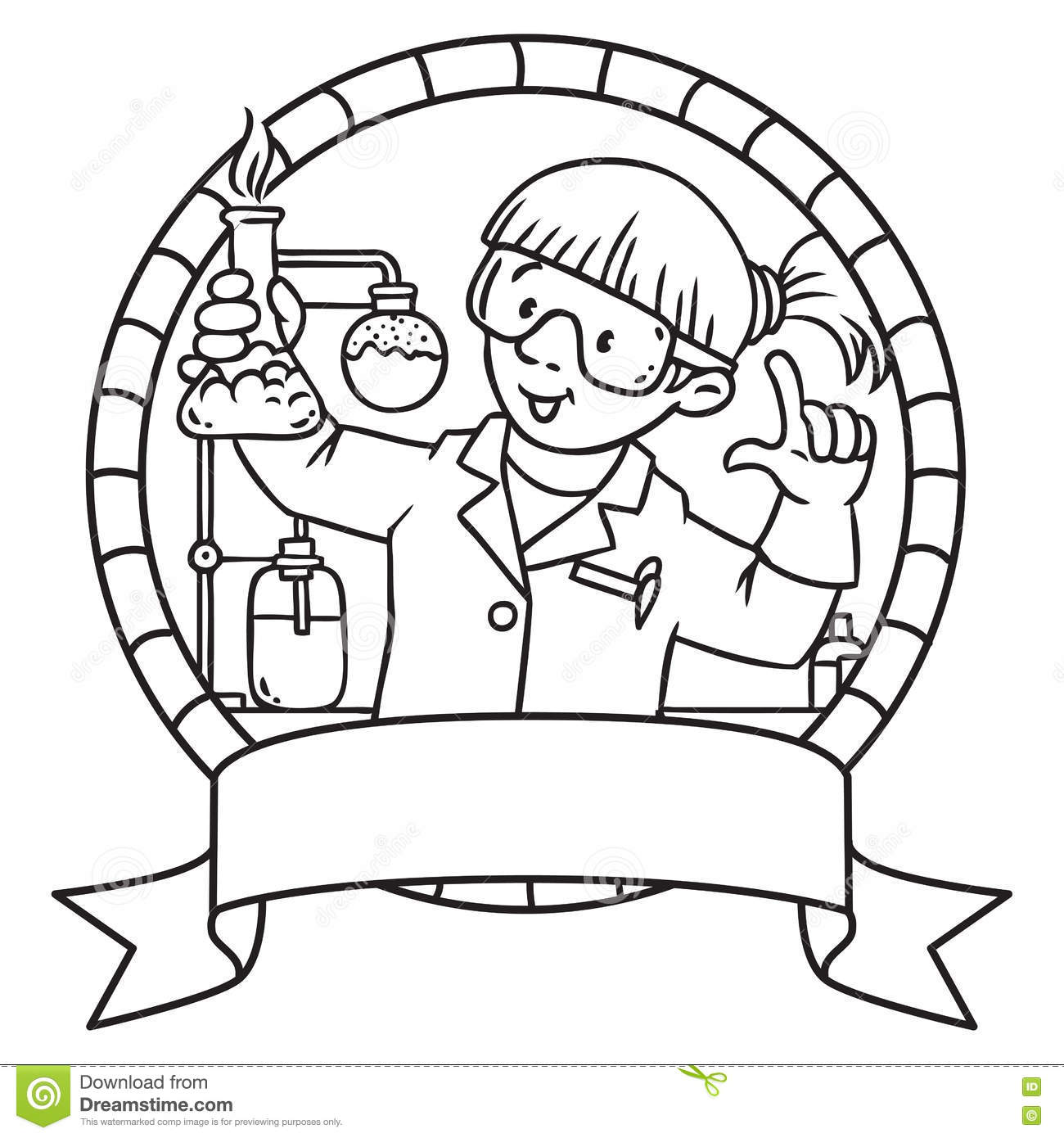 Coloring Book Of Funny Chemist. Emblem. Stock Vector