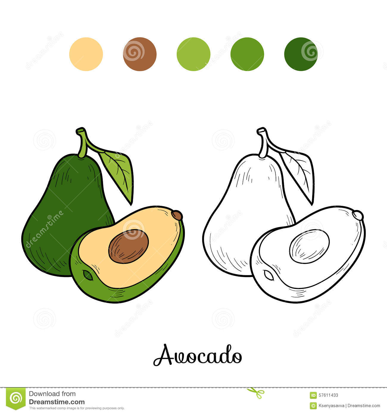Coloring Book Game Fruits And Vegetables Avocado Stock Vector