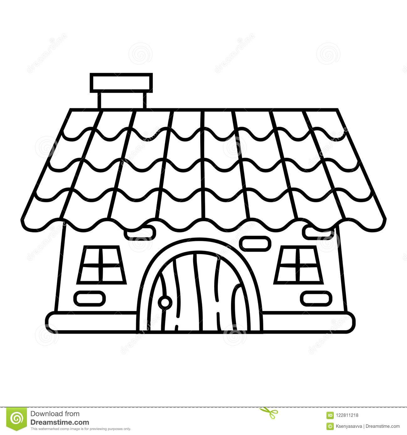 Coloring book, House stock vector. Illustration of