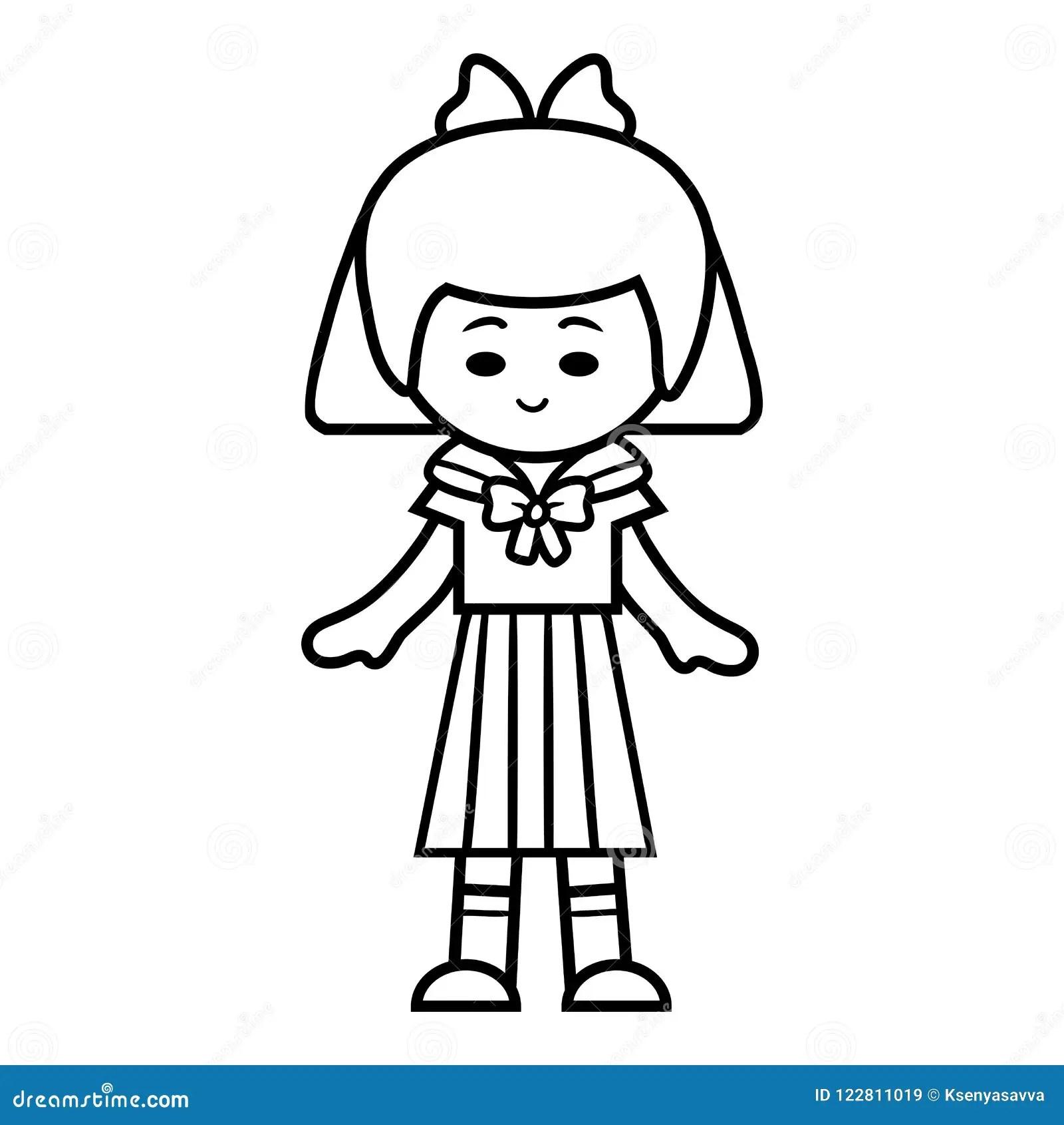 Coloring Book Japanese Schoolgirl Stock Vector