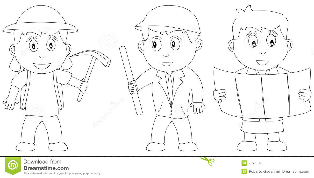 Engineer Coloring Book. Profession ABC Series Cartoon