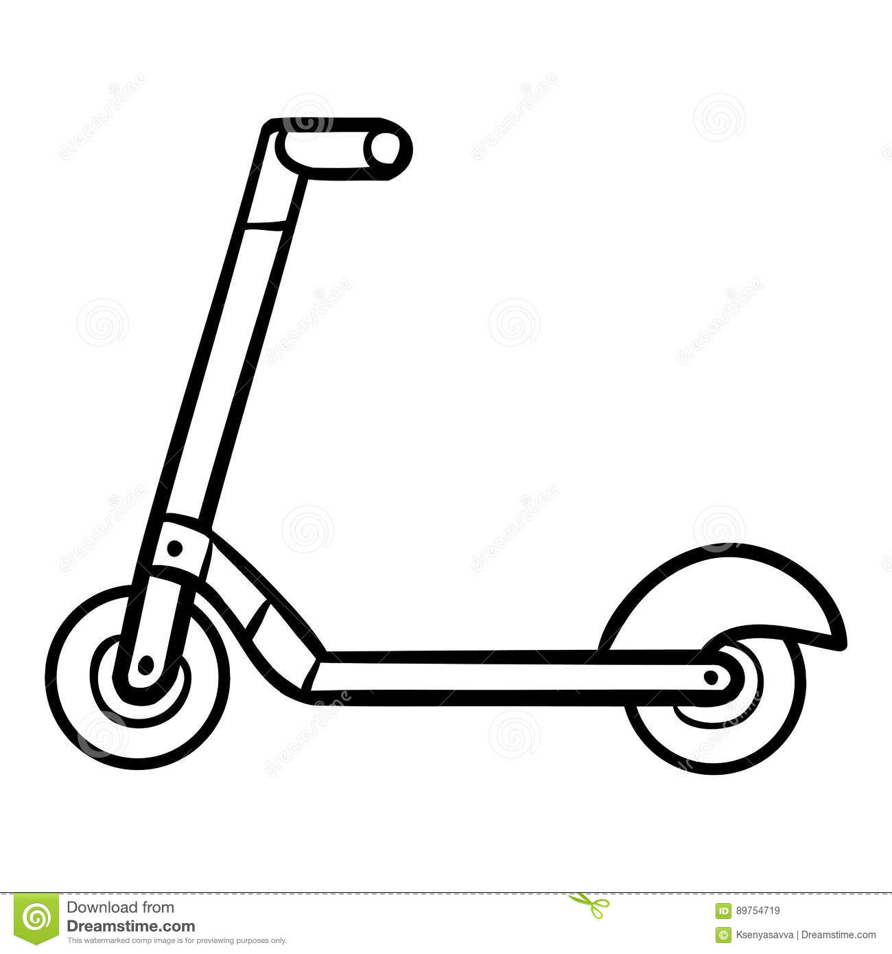 Coloring Book For Kids, Kick Scooter Stock Vector