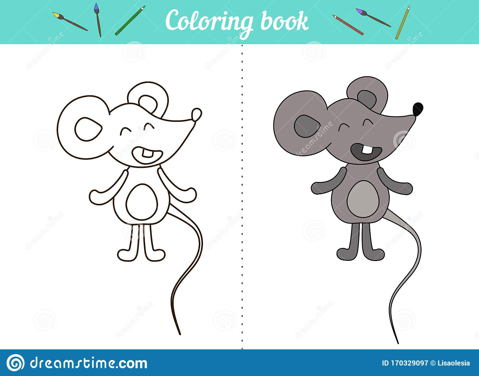 Coloring Book For Kids Little Mouse A Simple Drawing With An Example Of Color Cartoon Character Animal Page For Stock Vector Illustration Of Outlined Outline 170329097