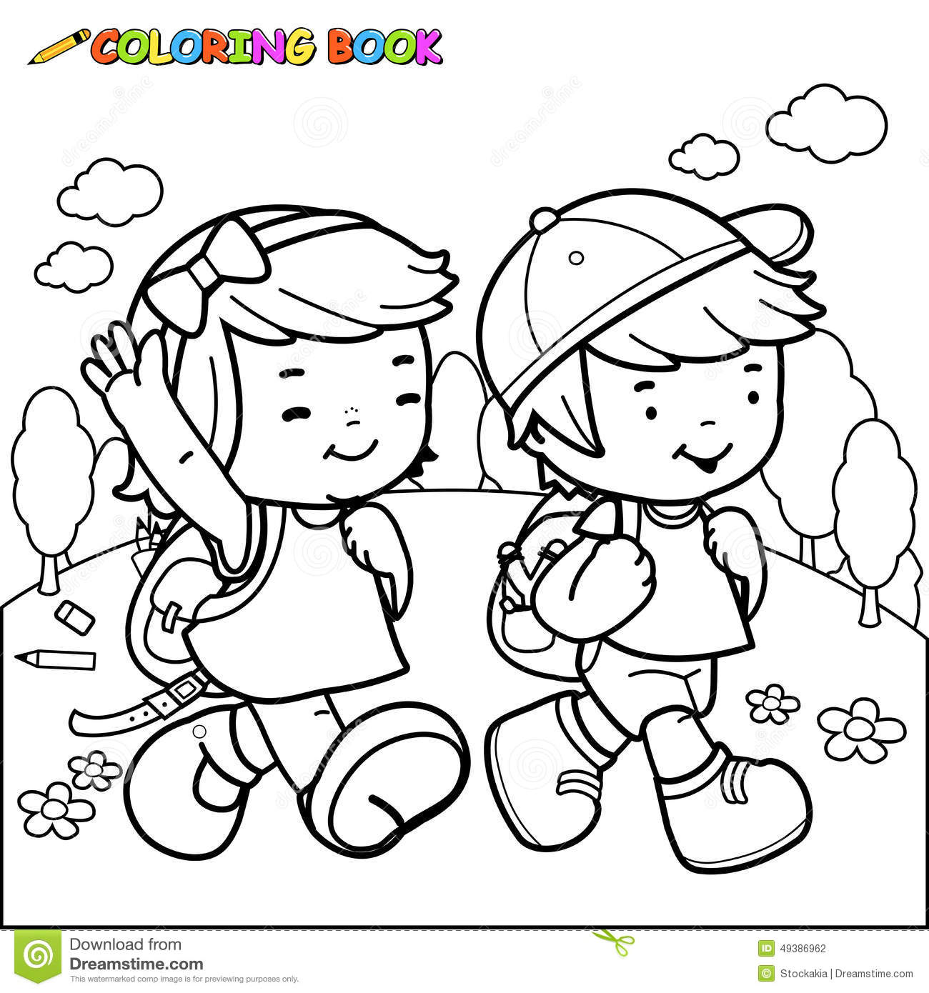 Coloring Book Kids Walk To School Stock Vector