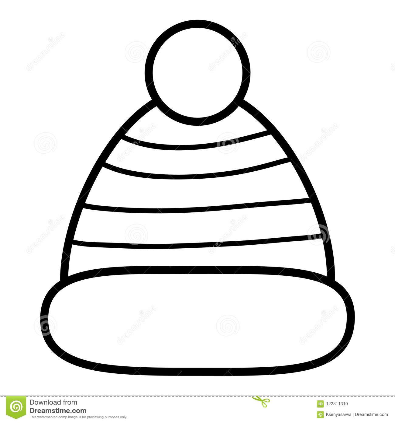 Coloring book, Knitted hat stock vector. Illustration of