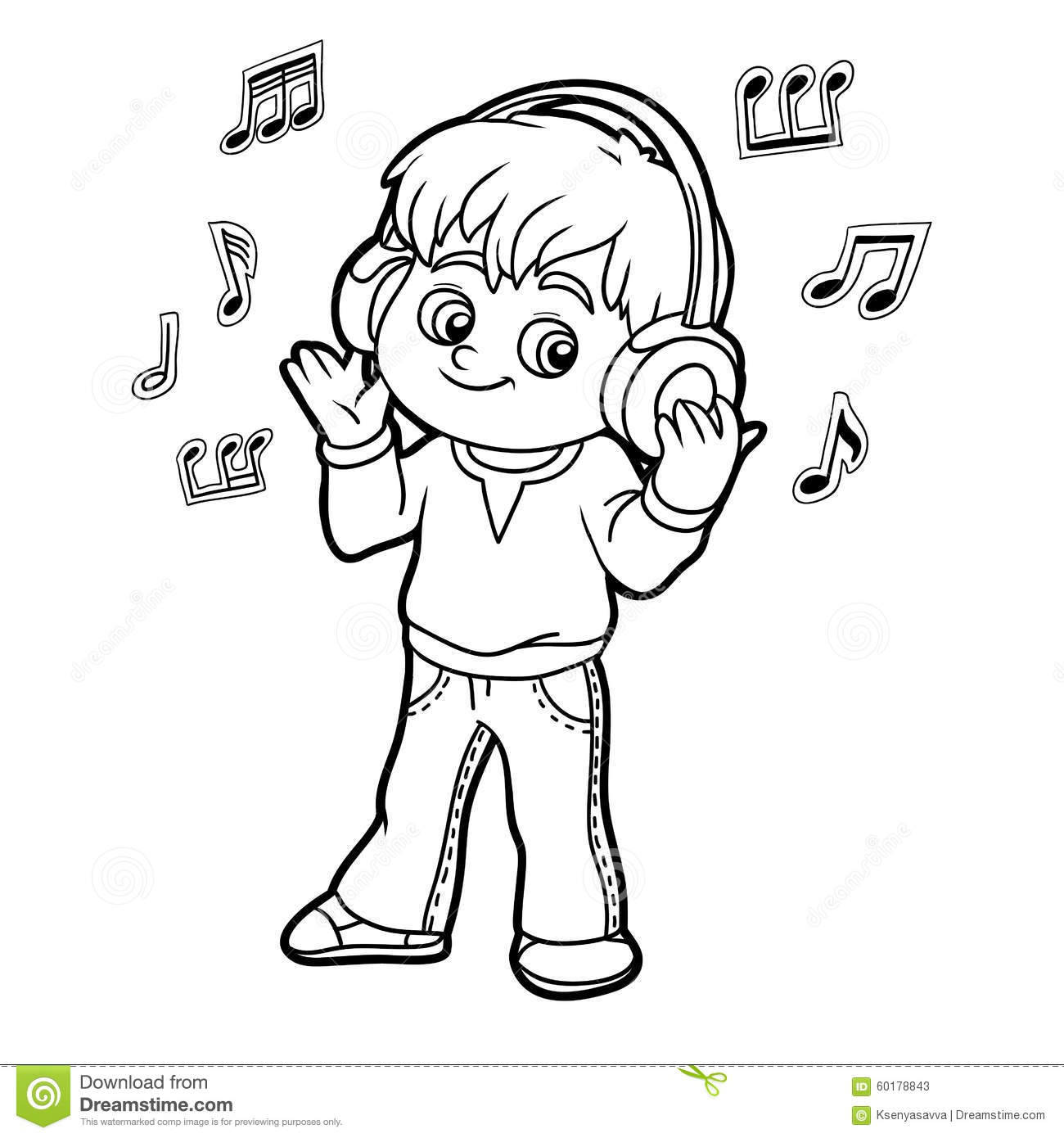 Coloring Book Little Boy Listening To Music On Headphones