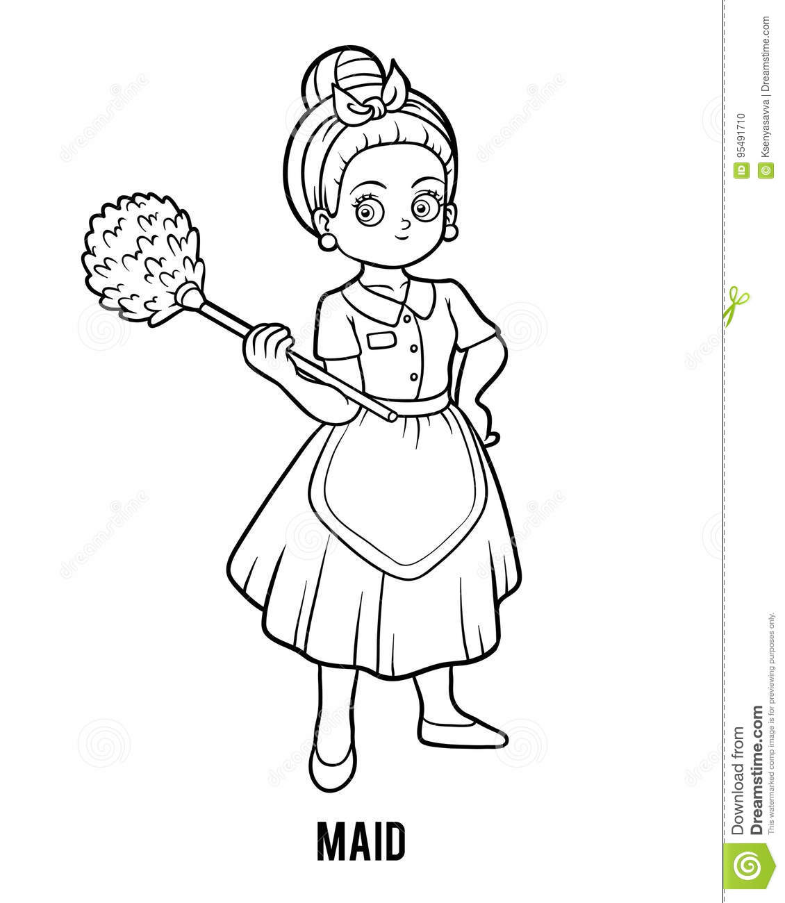 Coloring Book Cleaning Lady 1 Vector Illustration