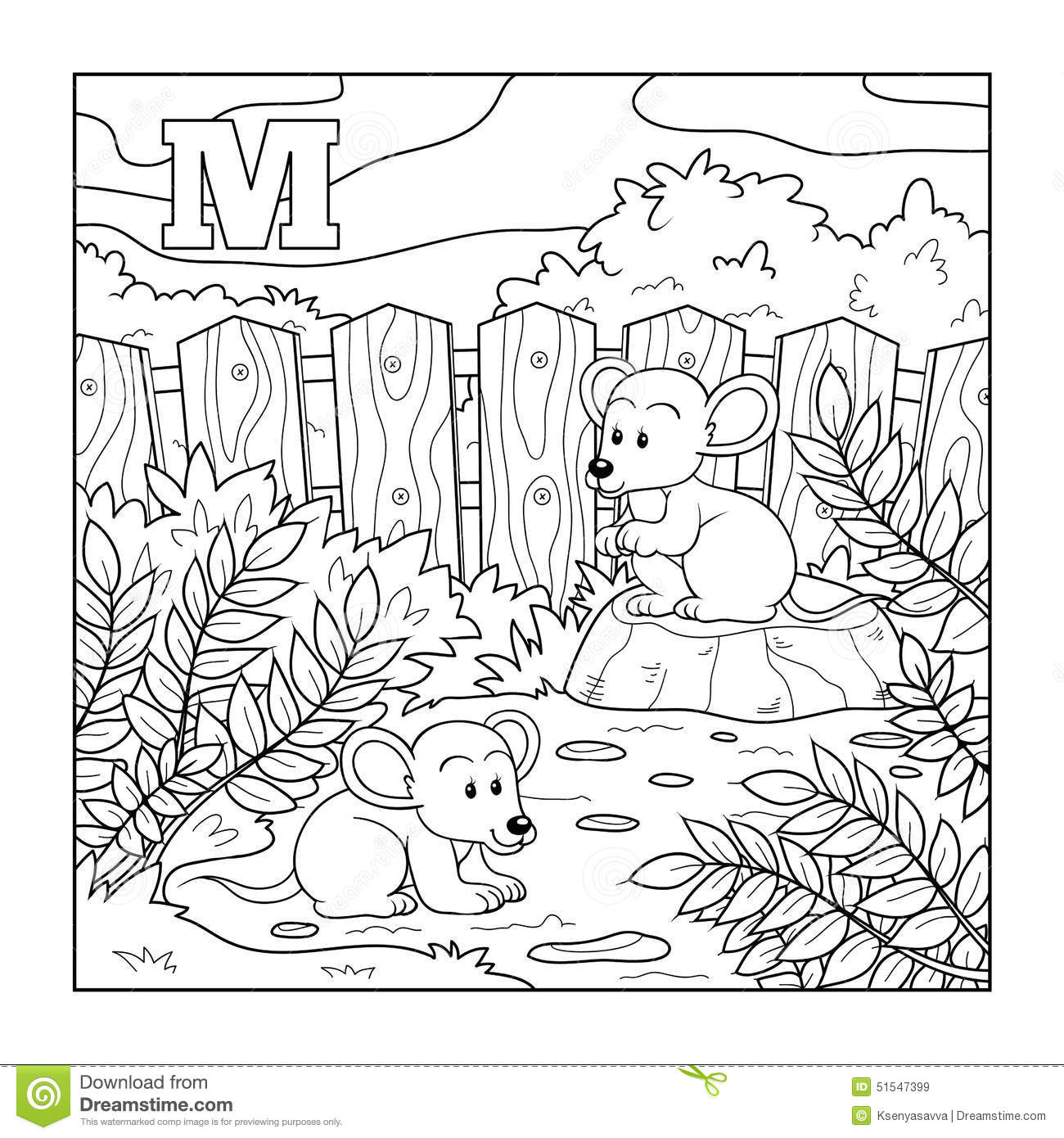 Coloring Book (mice), Colorless Alphabet For Children