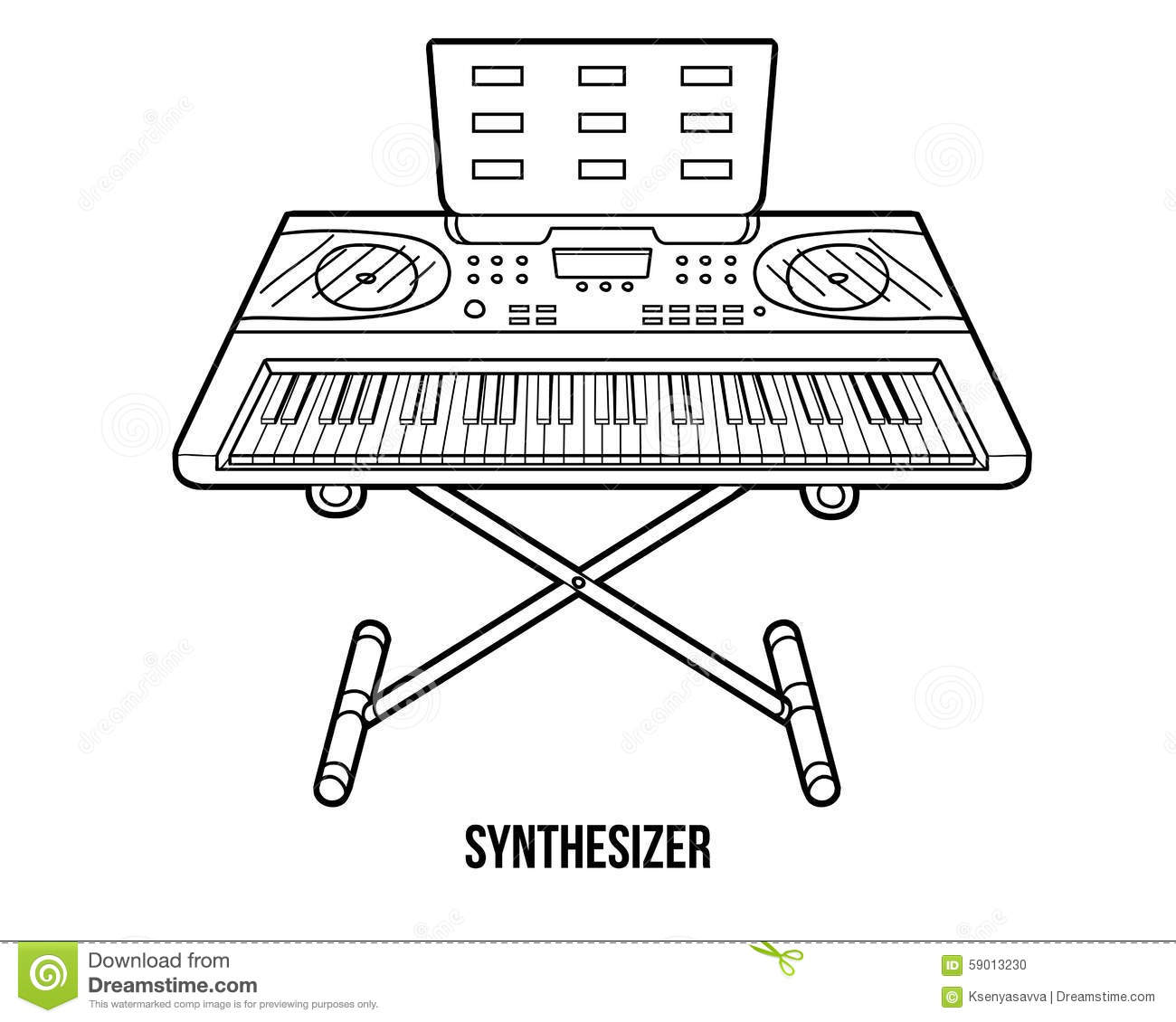 Coloring Book: Musical Instruments (synthesizer) Stock