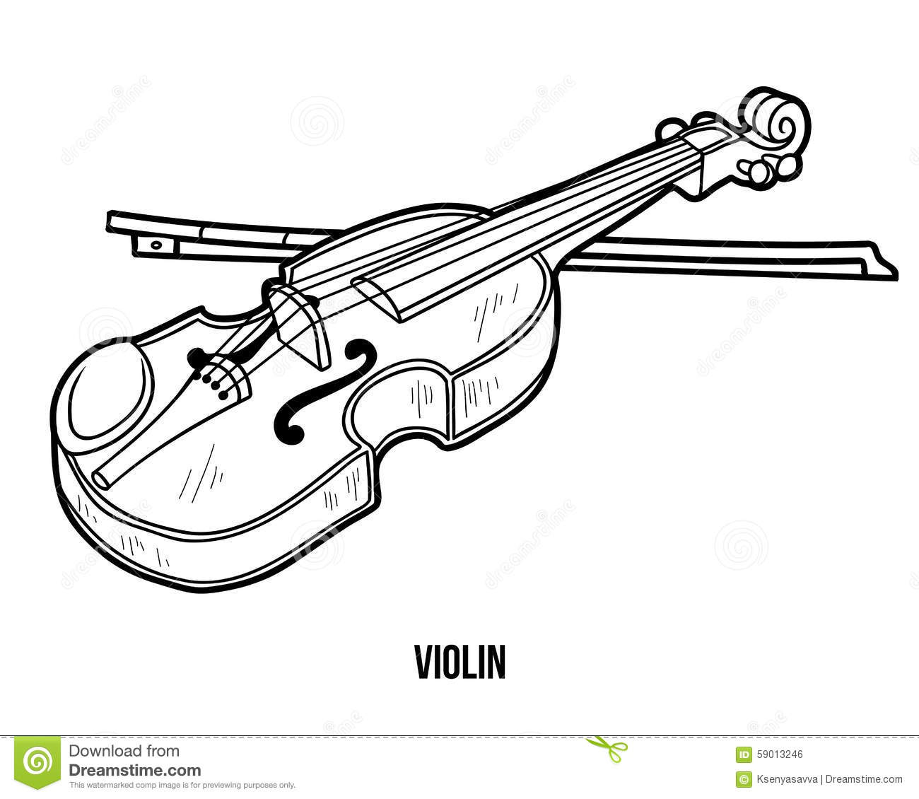 Coloring Book: Musical Instruments (violin) Stock Vector