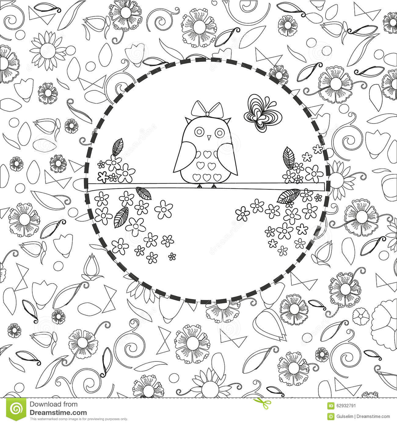 Coloring Book Page For Adults Line Art Creation, Owls And