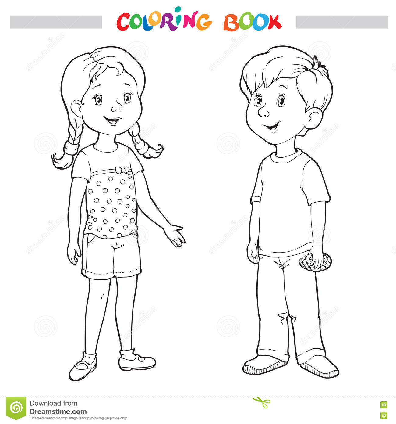Coloring Book Or Page Boy And Girl Stock Vector