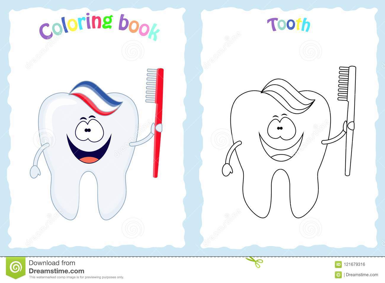 Coloring Book Page For Children With Colorful Tooth With