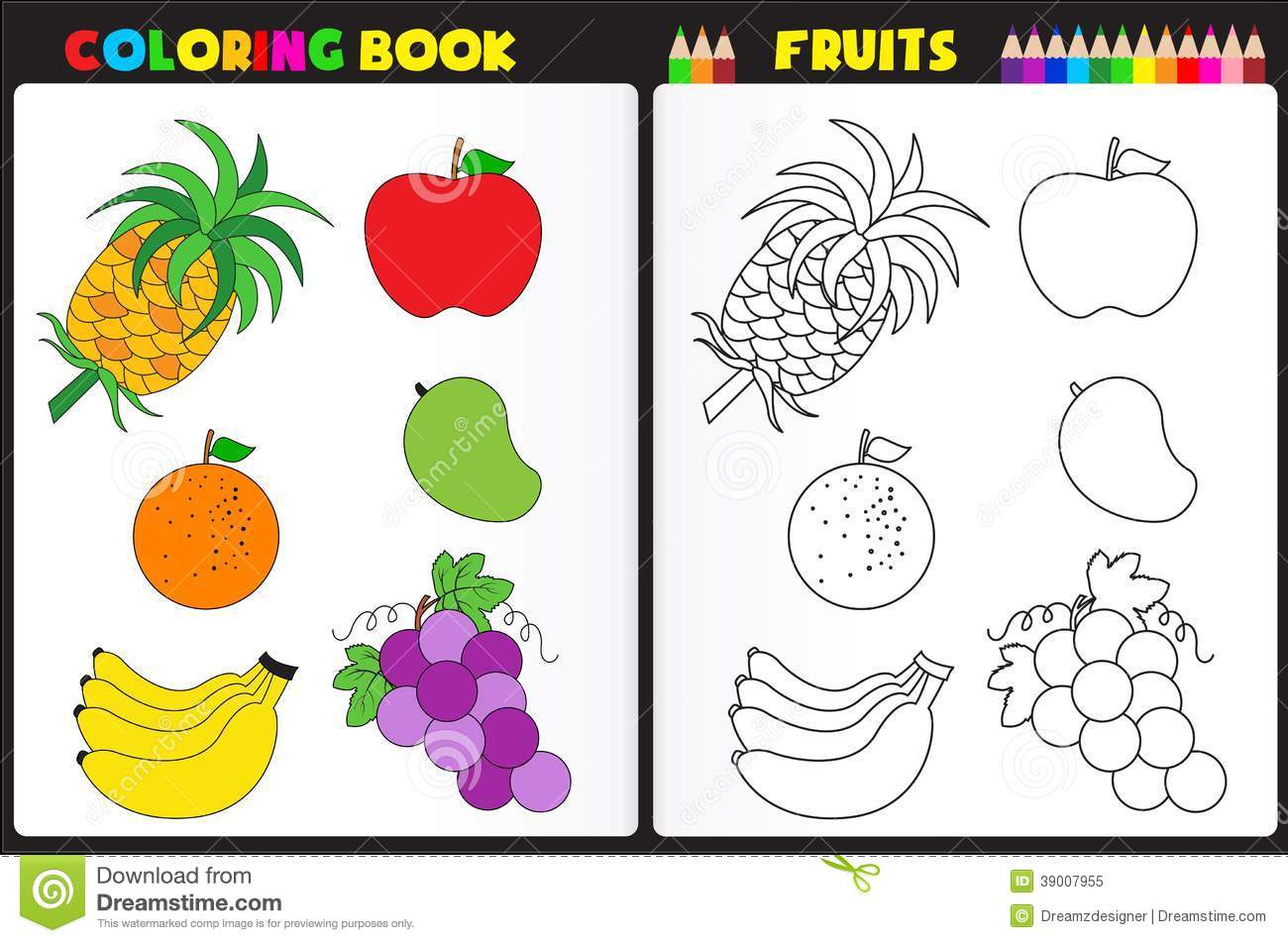Coloring Book Page Fruits Stock Vector Illustration Of