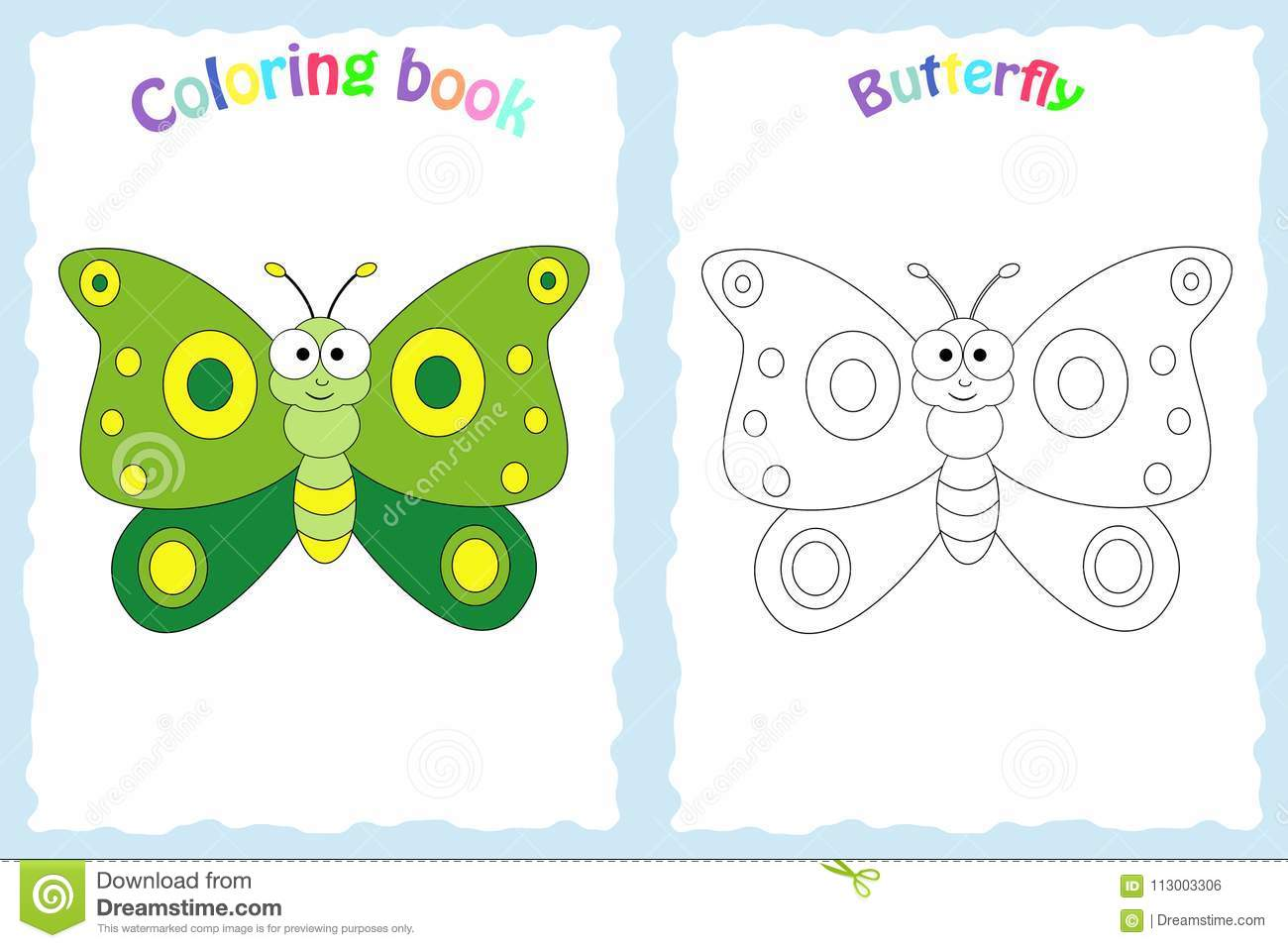 Coloring Book Page For Preschool Children With Colorful