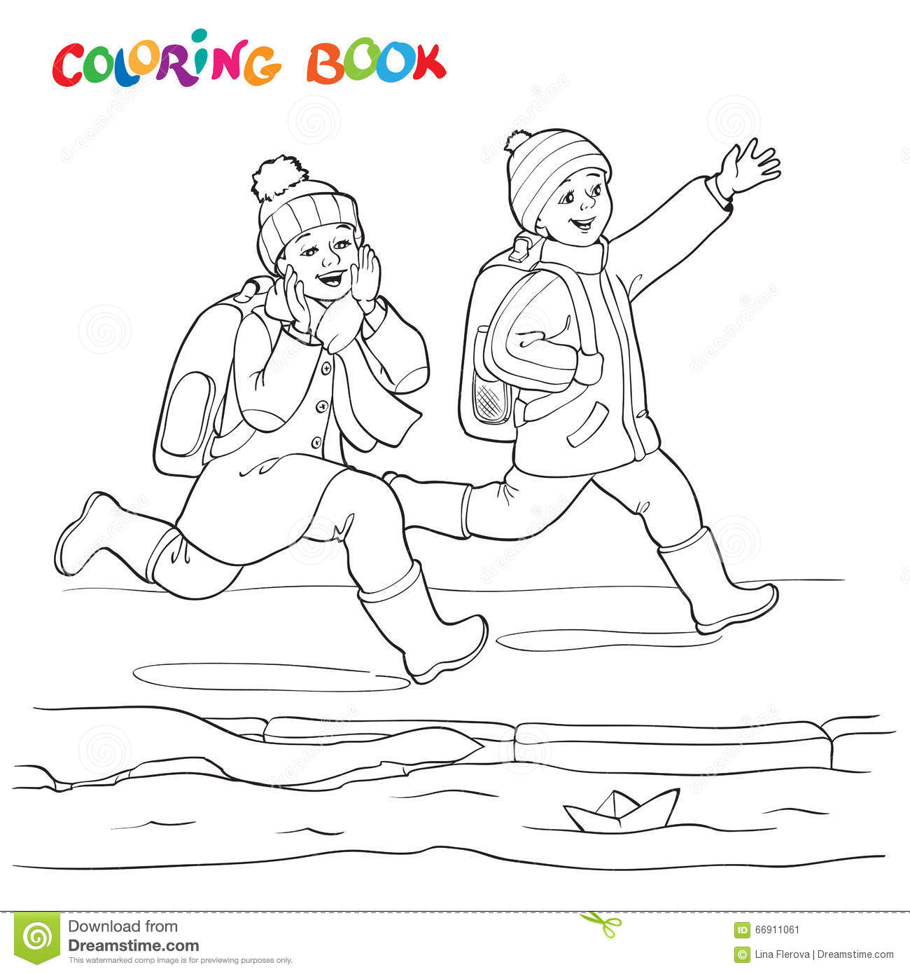 Coloring Book Or Page. Two Joyful Boys Running Along The