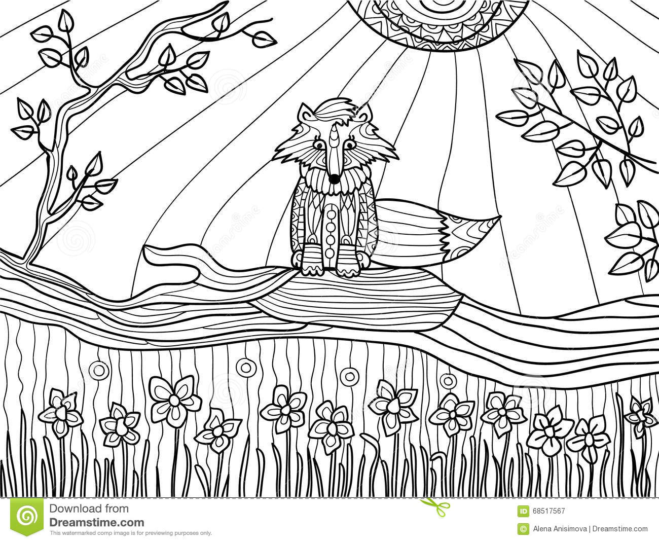 Coloring Book Pages For Adults: Funny Fox Cub On Fallen