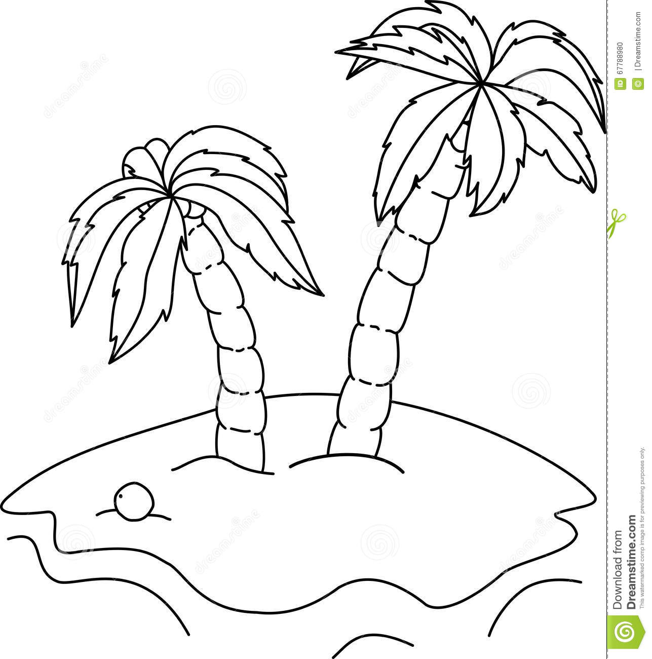 Coloring Book Palm Trees Stock Vector Illustration Of