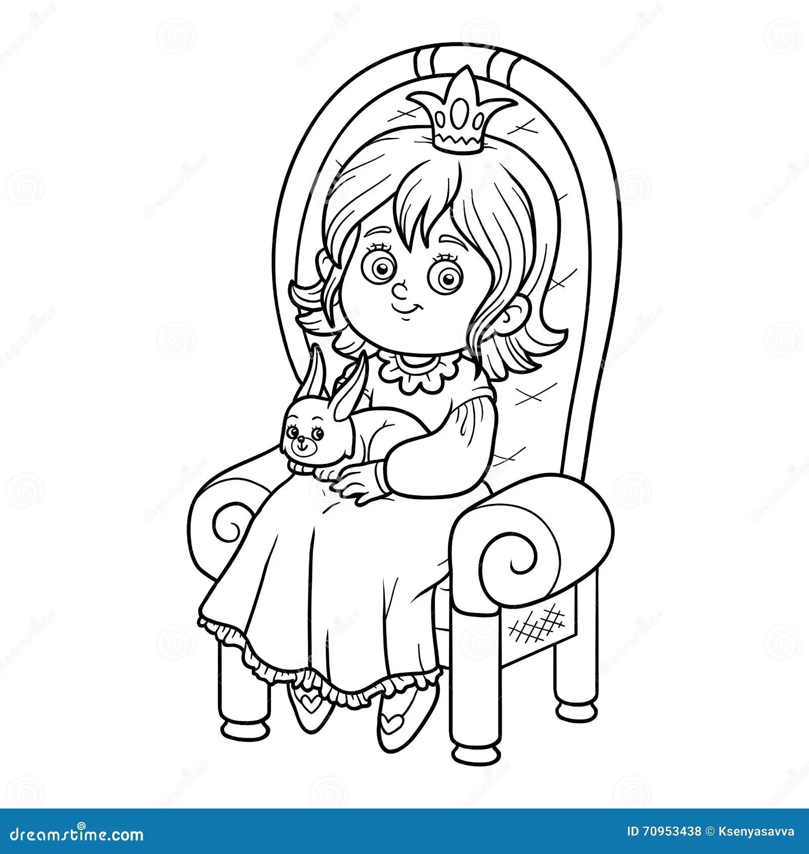 Princess On The Throne Cartoon Vector