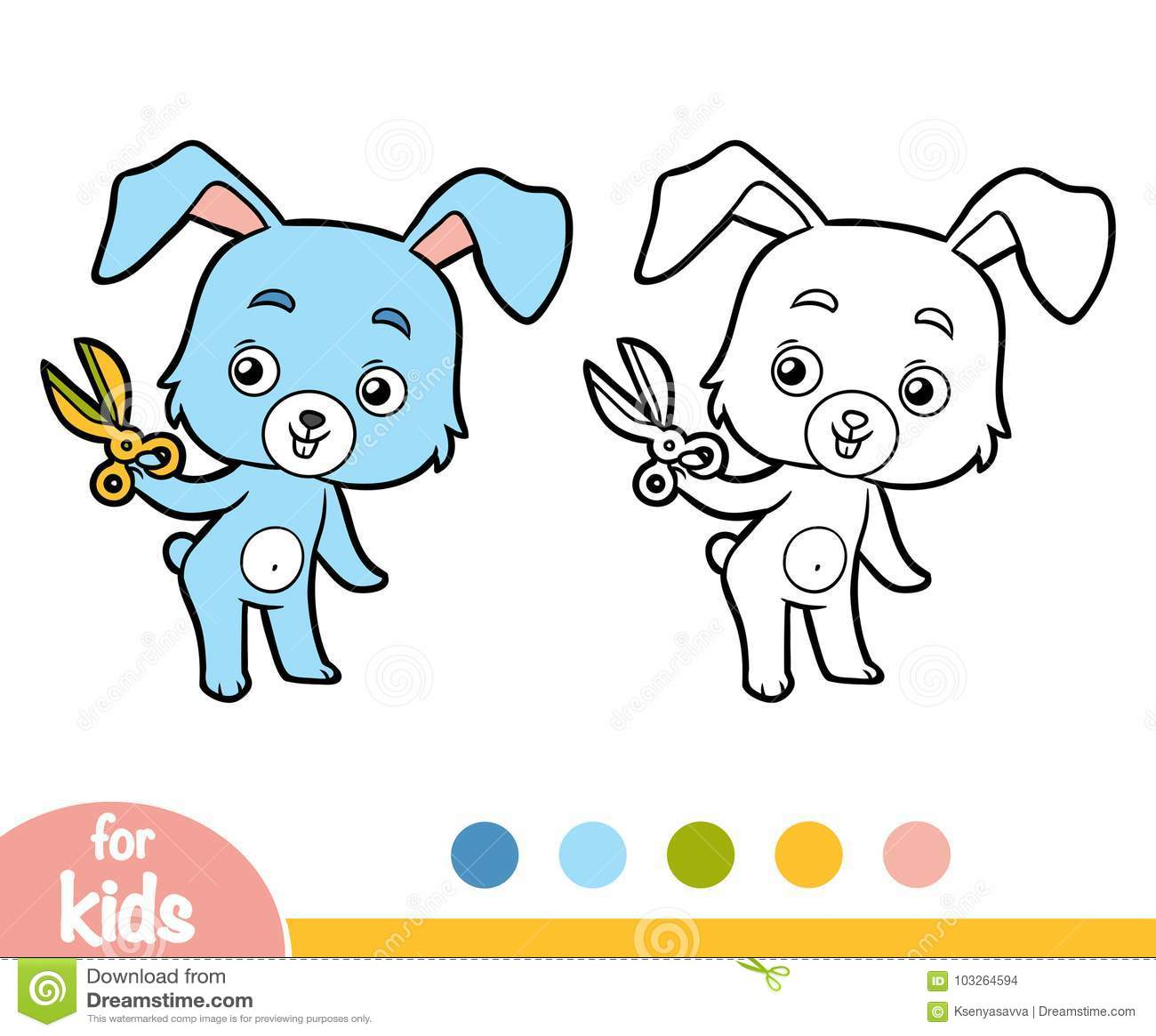 Coloring Book Rabbit And Scissors Stock Vector