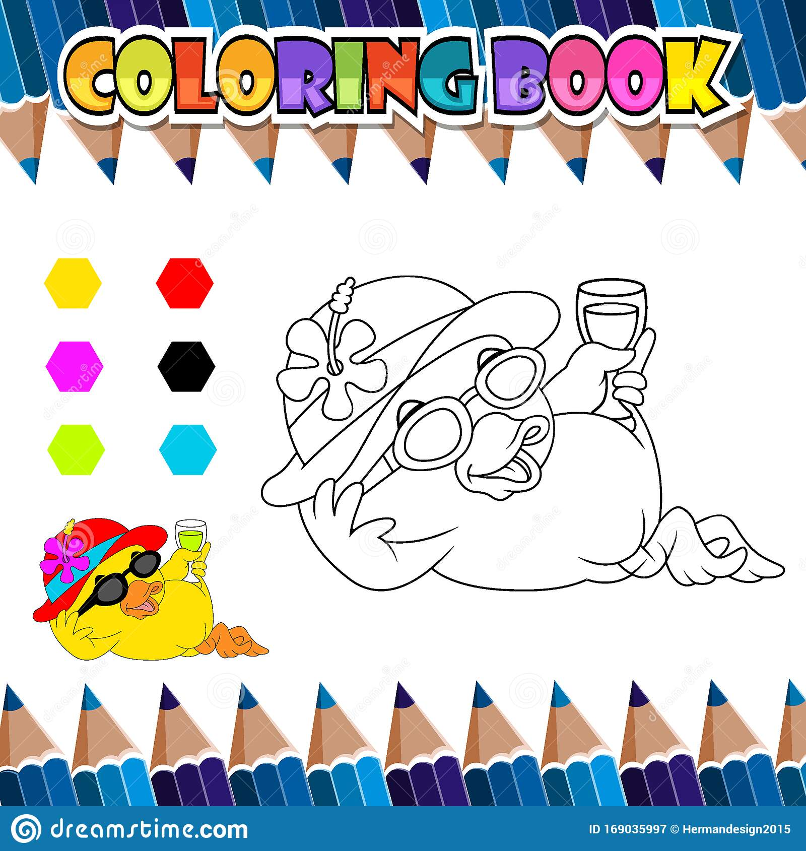 Coloring Book Relaxing Duck Cartoon Stock Vector