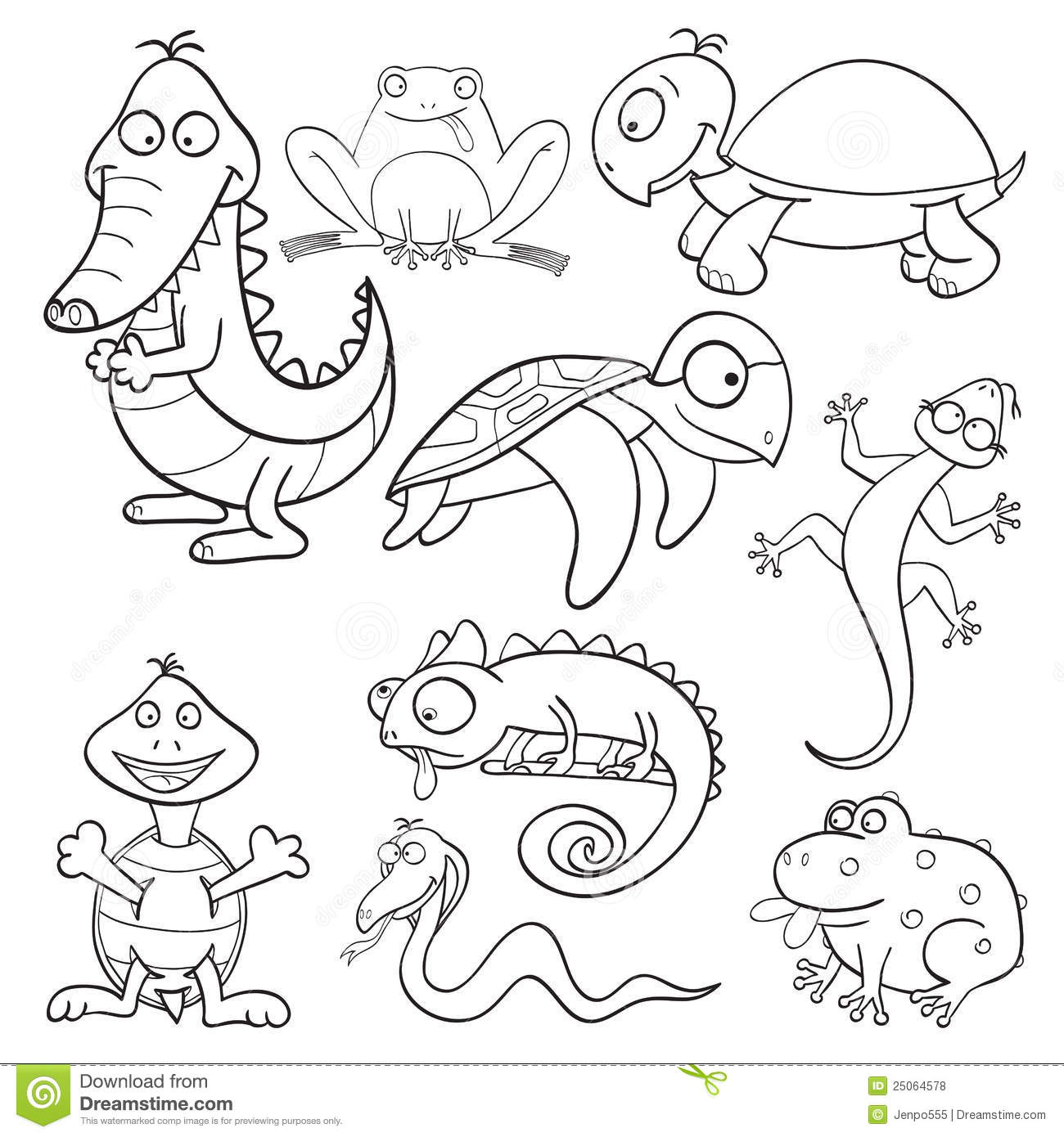 Coloring Book With Reptiles And Amphibians Royalty Free