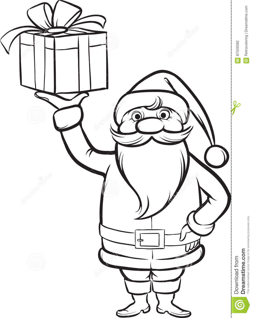 Coloring Book Santa Claus With Christmas T Stock Vector