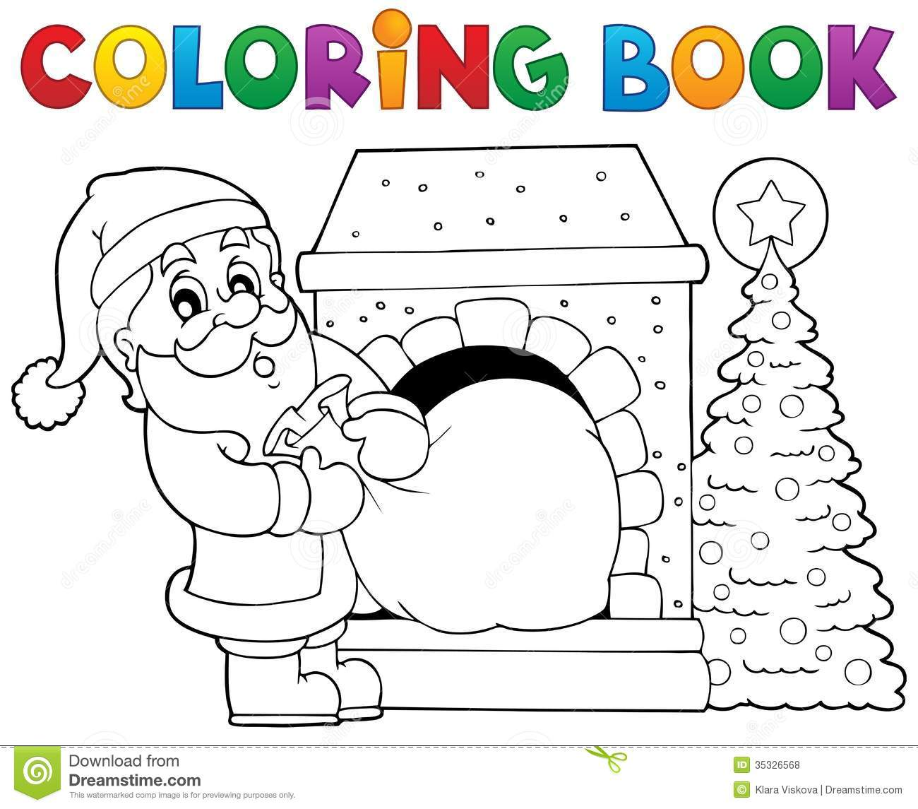Coloring Book Santa Claus Theme 9 Stock Vector
