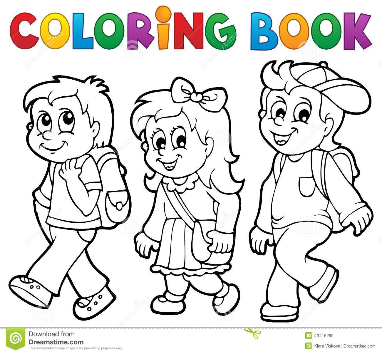 Coloring Book School Kids Theme Stock Photo