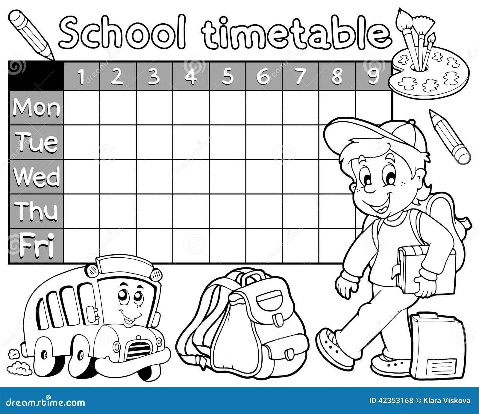 Coloring Book School Timetable 1 Stock Vector