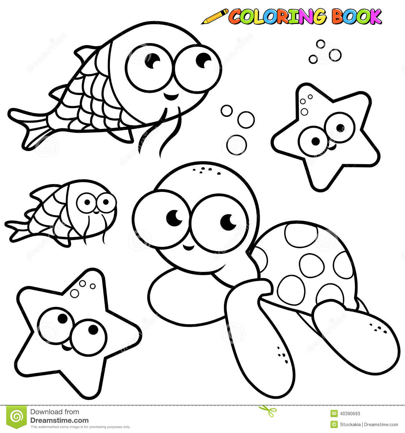 Coloring Book Sea Animals Set Stock Vector