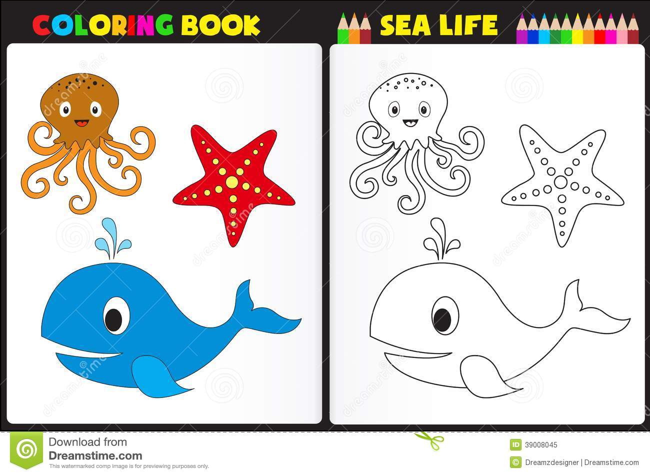 Coloring Book Sea Life Stock Vector