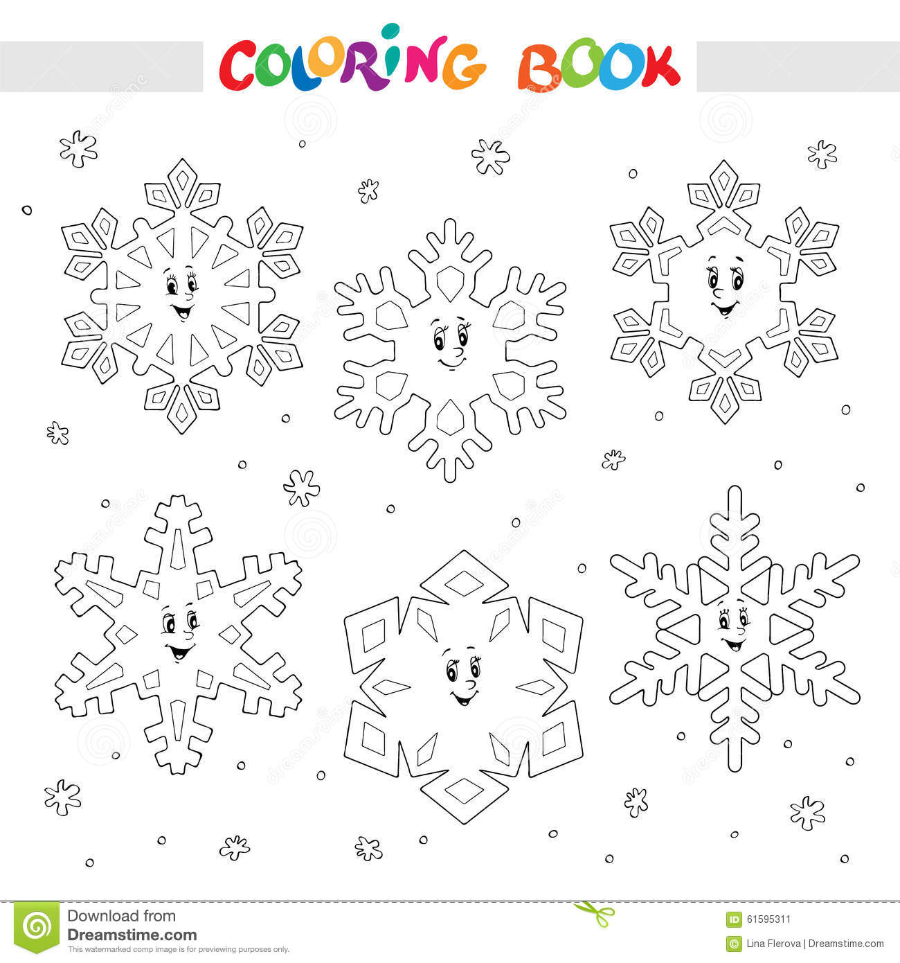 Coloring Book Set Of Cartoon Snowflakes For Kids Stock