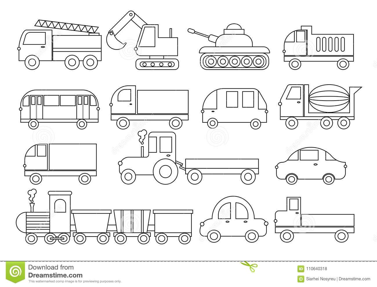 Coloring Book. Set Of Transport. Car, Bus, Train, Fire
