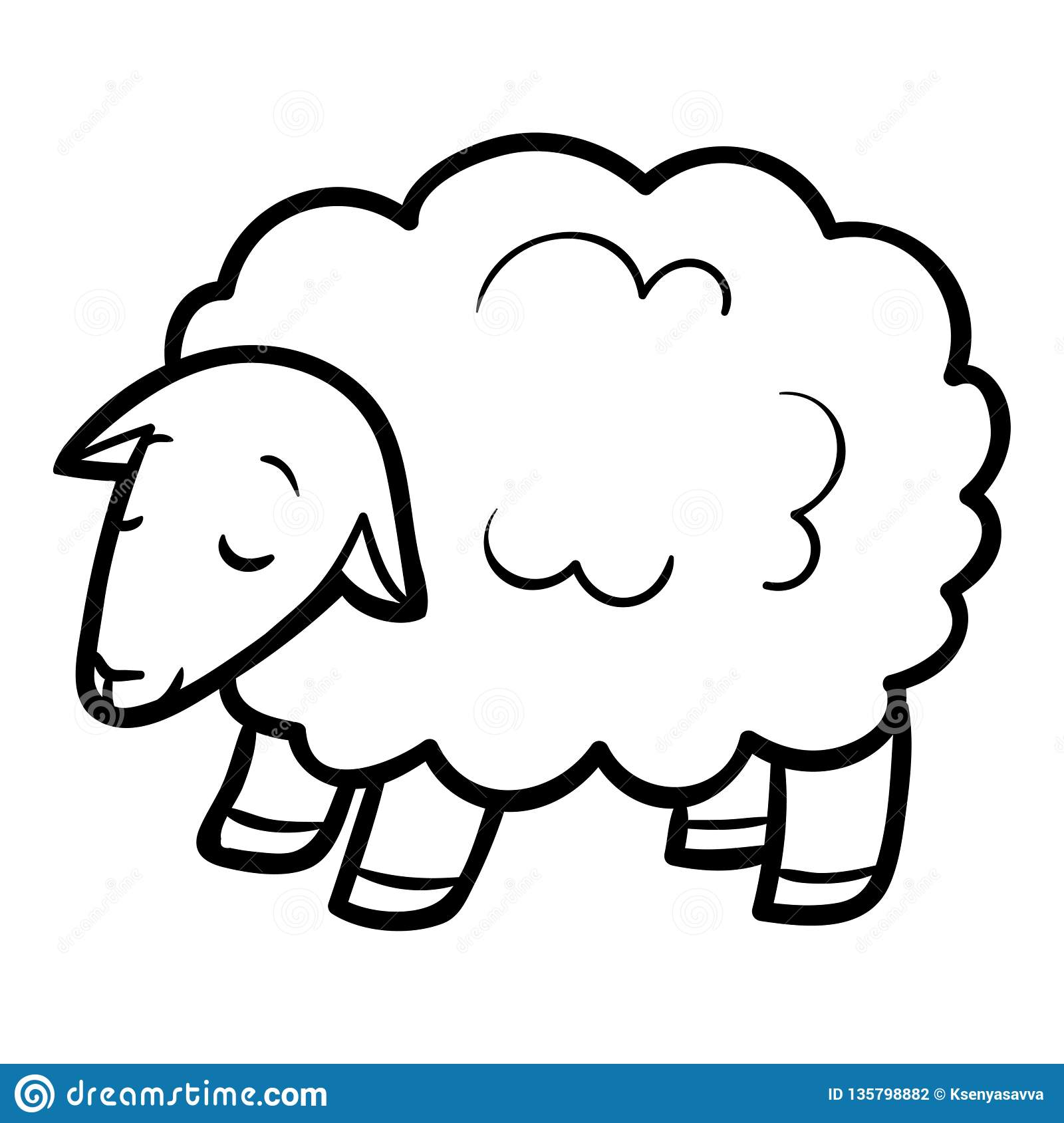 Coloring Book Sheep Stock Vector Illustration Of Outline