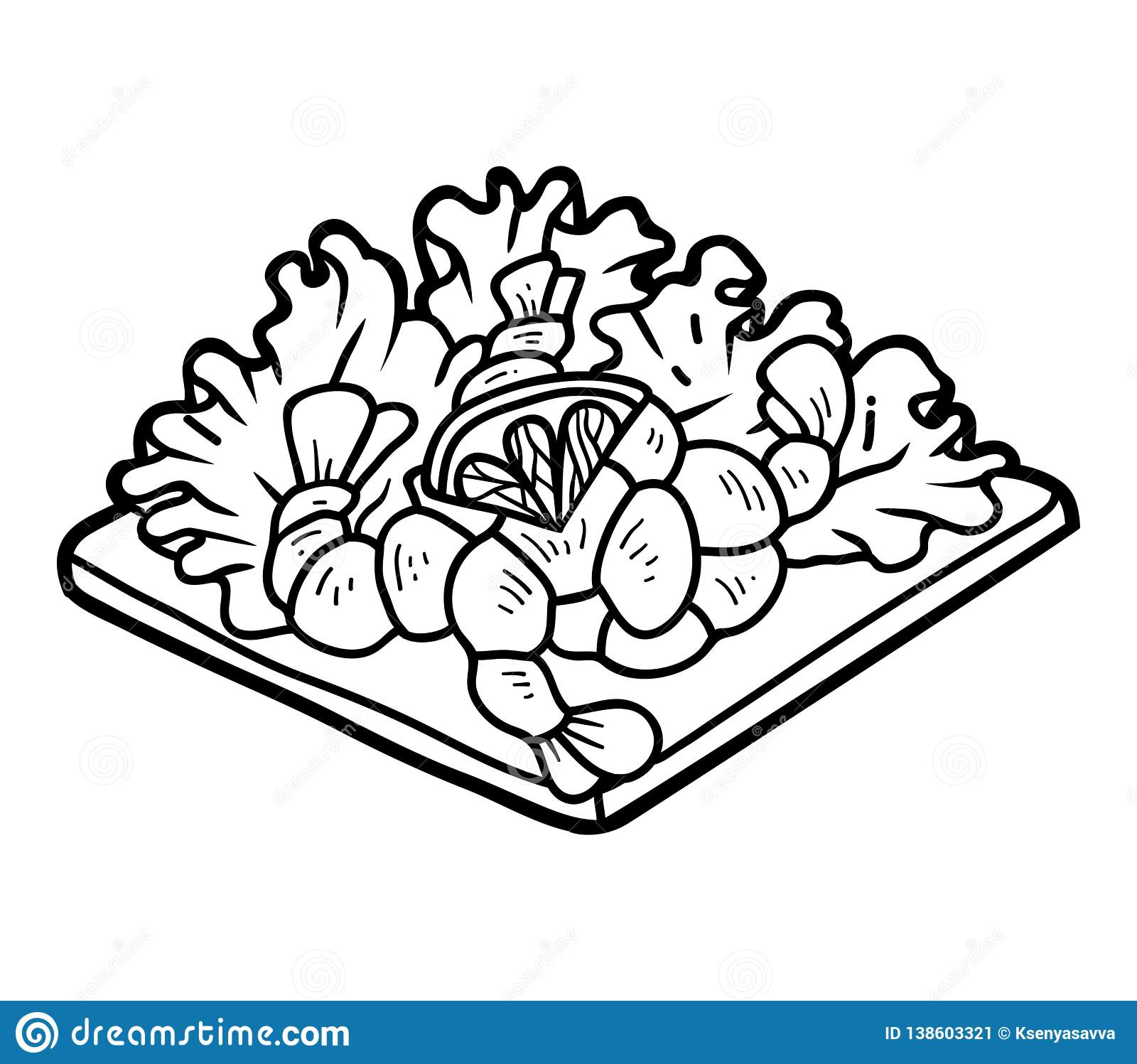 Coloring Book Shrimp Salad Stock Vector
