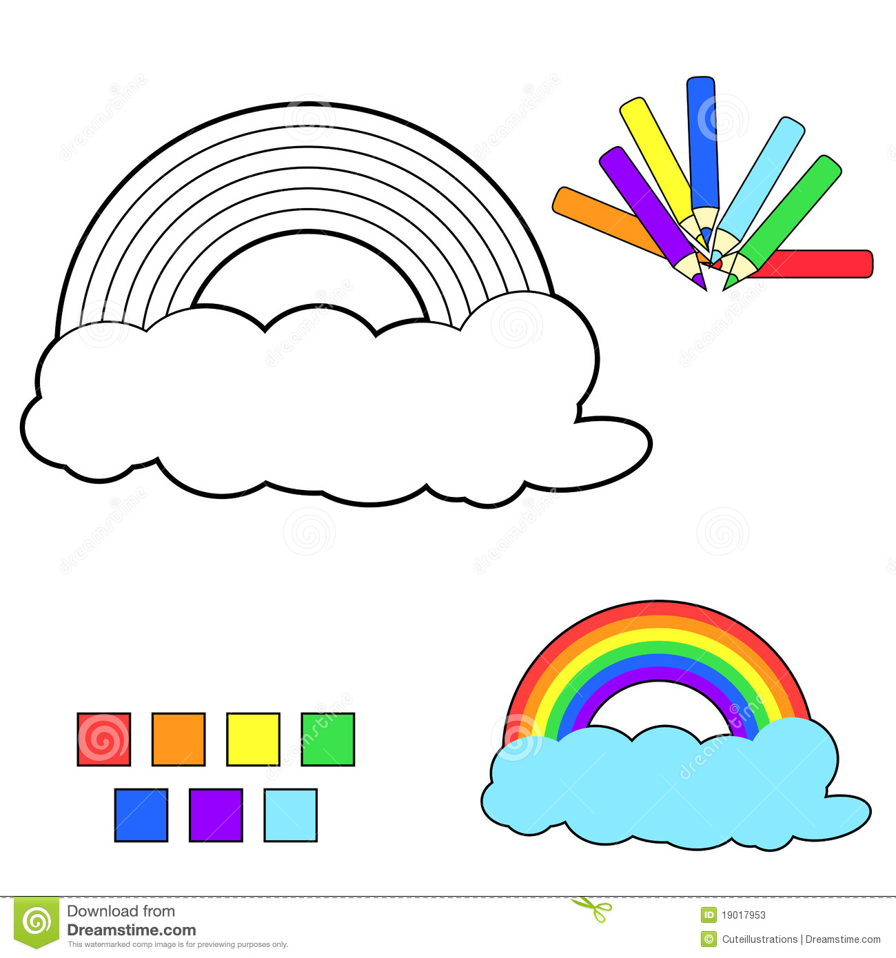 Coloring Book Sketch Rainbow Stock Vector