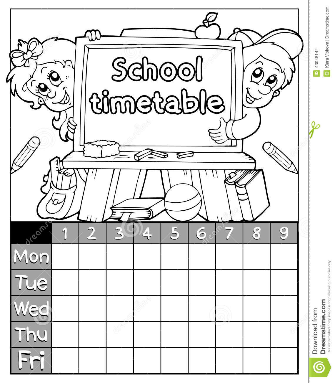 Coloring Book Timetable Topic 3 Stock Vector