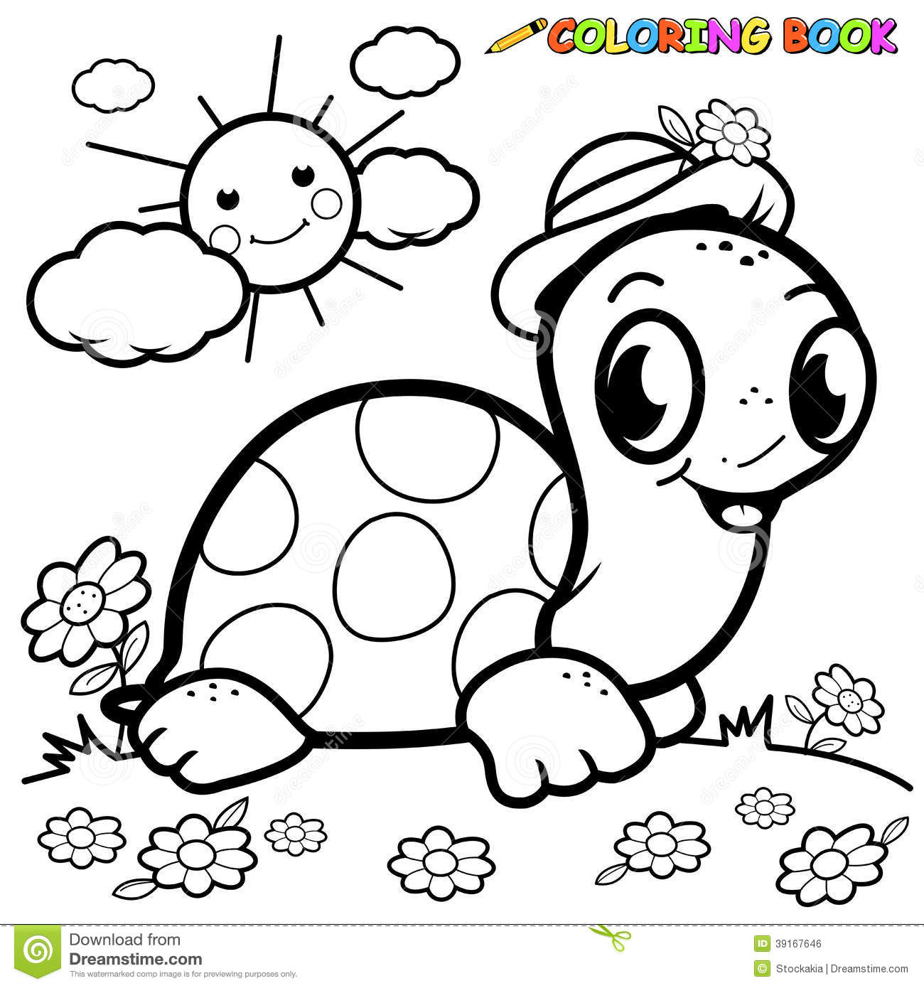 Coloring Book Turtle In Grass Stock Vector