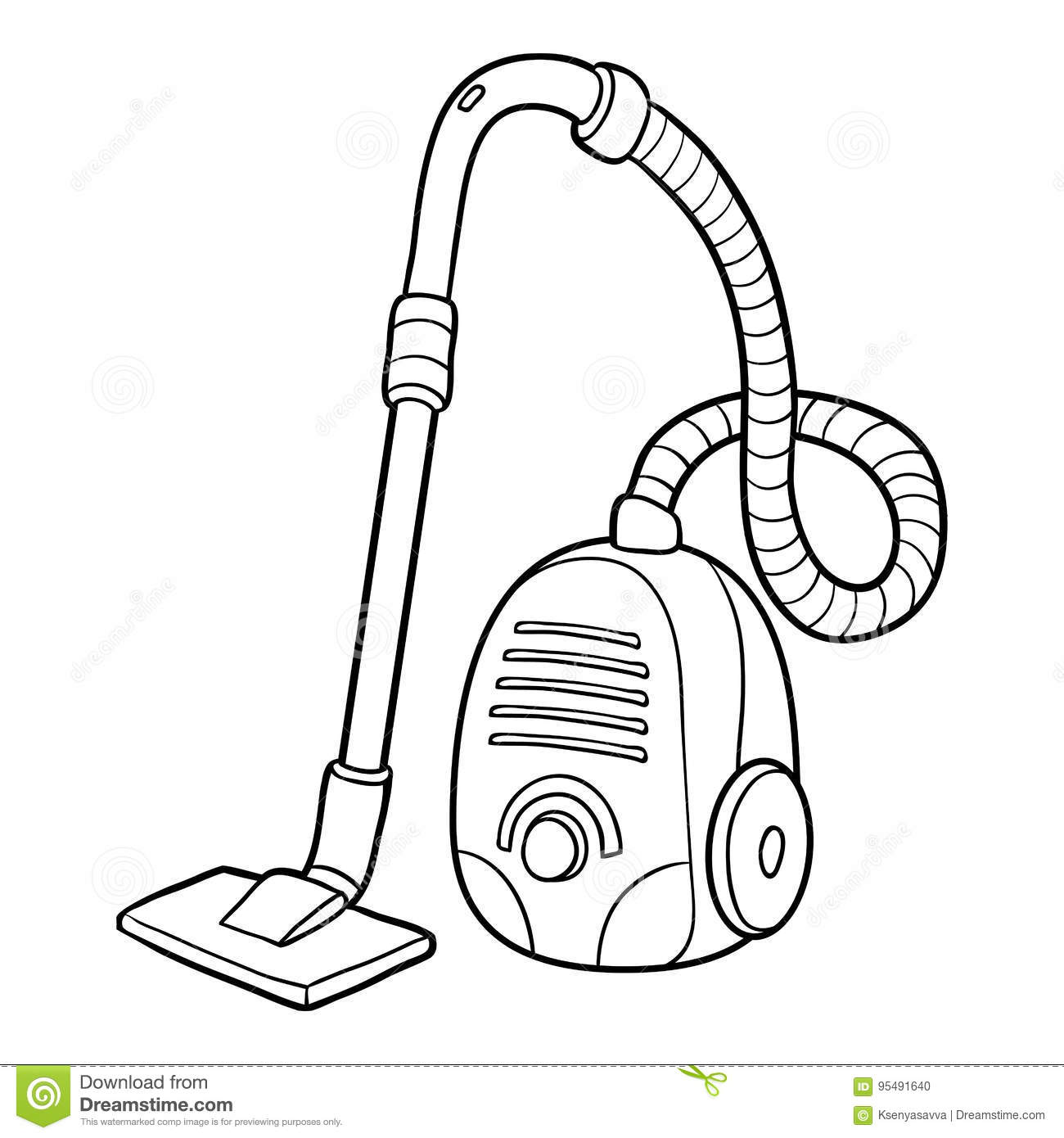 Coloring Book Vacuum Cleaner Stock Vector Illustration Of