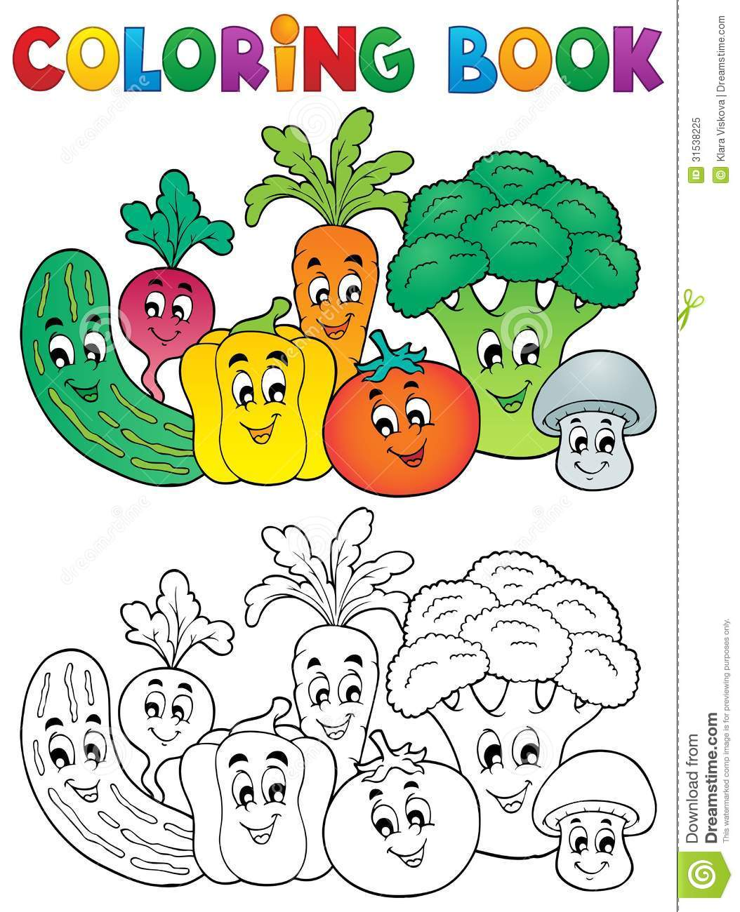 Coloring Book Vegetable Theme 2 Stock Vector